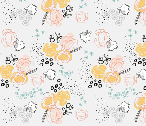 fabric white rabbits cucosbaby